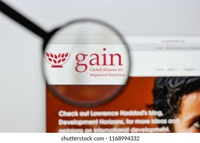 Milan, Italy - August 20, 2018: GAIN website homepage. GAIN logo visible.