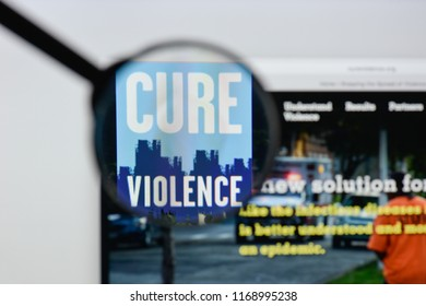 Milan, Italy - August 20, 2018: Cure Violence website homepage. Cure Violence logo visible.