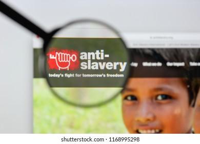 Milan, Italy - August 20, 2018: Anti-Slavery International website homepage. Anti-Slavery International logo visible.