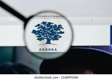 Milan, Italy - August 20, 2018: Ashoka website homepage. Ashoka logo visible.