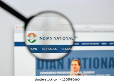 Milan, Italy - August 20, 2018: Indian National Congress website homepage. Indian National Congress logo visible.