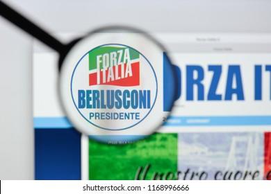 Milan, Italy - August 20, 2018: Forza Italia website homepage. Forza Italia logo visible.