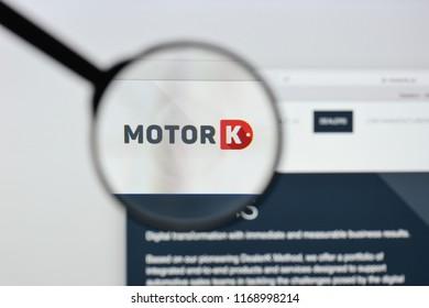 Milan, Italy - August 20, 2018: MotorK Italia website homepage. MotorK Italia logo visible.
