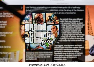 Milan, Italy - August 20, 2018: Grand Theft Auto V website homepage. Grand Theft Auto V logo visible.