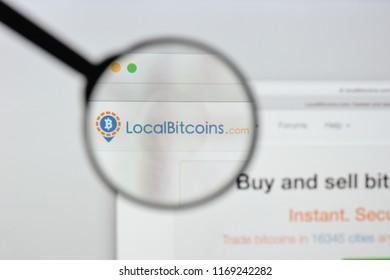 Milan, Italy - August 20, 2018: Localbitcoins website homepage. Localbitcoins logo visible.