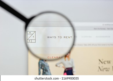 Milan, Italy - August 20, 2018: rent the runaway website homepage. rent the runaway logo visible.