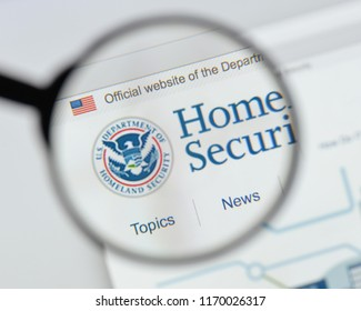 Milan, Italy - August 20, 2018: Homeland Security website homepage. Homeland Security logo visible.