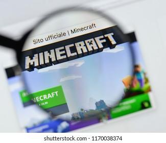 Milan, Italy - August 20, 2018: Minecraft website homepage. Minecraft logo visible.