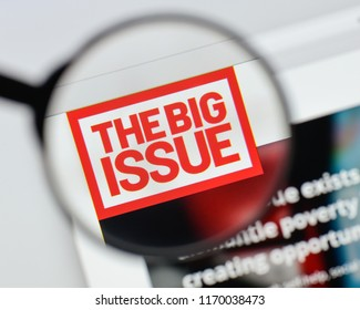 Milan, Italy - August 20, 2018: The Big Issue website homepage. The Big Issue logo visible.