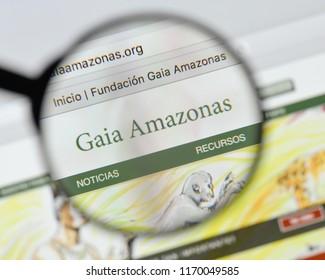 Milan, Italy - August 20, 2018: Gaia Amazonas website homepage. Gaia Amazonas logo visible.