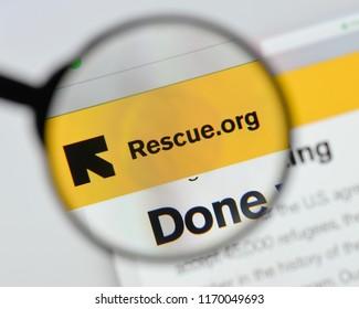 Milan, Italy - August 20, 2018: International Rescue Committee website homepage. International Rescue Committee logo visible.