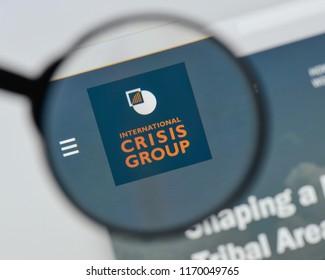 Milan, Italy - August 20, 2018: International Crisis Group website homepage. International Crisis Group logo visible.