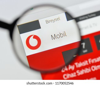 Milan, Italy - August 20, 2018: Vodafone Turkiye website homepage. Vodafone Turkiye logo visible.