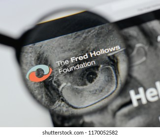 Milan, Italy - August 20, 2018: Fred Hollows Foundation website homepage. Fred Hollows Foundation logo visible.