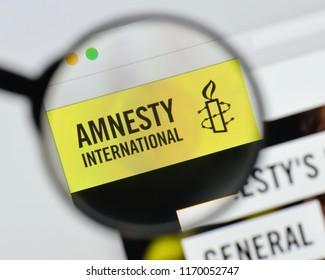 Milan, Italy - August 20, 2018: amnesty international website homepage. amnesty international logo visible.