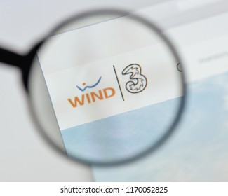 Milan, Italy - August 20, 2018: Wind Tre website homepage. Wind Tre logo visible.
