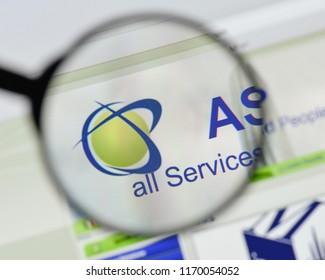 Milan, Italy - August 20, 2018: ASAP Italia website homepage. ASAP Italia logo visible.
