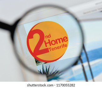 Milan, Italy - August 20, 2018: Rent 2nd home tenerife website homepage. Rent 2nd home tenerife logo visible.