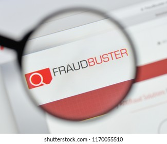 Milan, Italy - August 20, 2018: Fraud Buster website homepage. Fraud Buster logo visible.