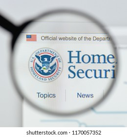 Milan, Italy - August 20, 2018: Homeland Security website homepage. Homeland Security logo visible.