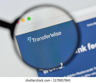 Milan, Italy - August 20, 2018: TransferWise website homepage. TransferWise logo visible.