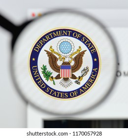 Milan, Italy - August 20, 2018: Department of State website homepage. Department of State logo visible.