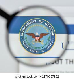 Milan, Italy - August 20, 2018: U.S. Dept of Defense website homepage. U.S. Dept of Defense logo visible.