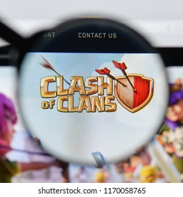 Milan, Italy - August 20, 2018: Clash Of Clans website homepage. Clash Of Clans logo visible.