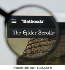 Milan, Italy - August 20, 2018: The Elder Scrolls V: Skyrim website homepage. The Elder Scrolls V: Skyrim logo visible.