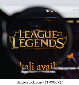 Milan, Italy - August 20, 2018: League Of Legends website homepage. League Of Legends logo visible.