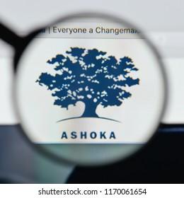 Milan, Italy - August 20, 2018: Ashoka website homepage. Ashoka logo visible.