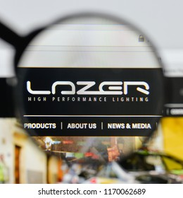 Milan, Italy - August 20, 2018: Lazer Lamps website homepage. Lazer Lamps logo visible.