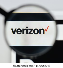 Milan, Italy - August 20, 2018: Verizon website homepage. Verizon logo visible.