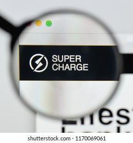 Milan, Italy - August 20, 2018: Supercharge website homepage. Supercharge logo visible.
