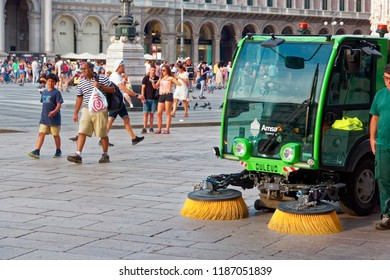 Milan, Italy August 20, 2018: cleaning machine on the city street.