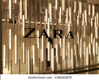 Milan, Italy, August 2018: sign of Zara, Spanish fashion brand in Malpensa airport store, editorial
