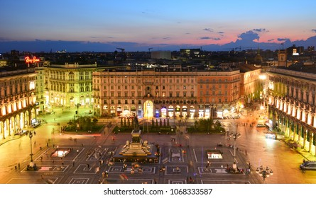 Milan / Italy - August 23, 2014: panoramic view of Piazza del Duomo at sunset from the Cathedral's roof
