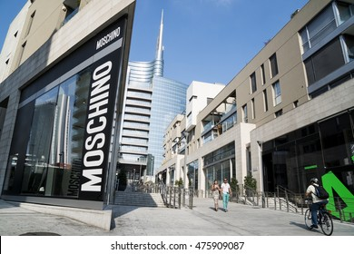 "MILAN, ITALY - AUGUST 28, 2016: Moschino store in the modern district of Milan ""Porta Nuova"""
