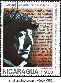 Milan, Italy - August 29, 2017: Pablo Neruda portrait on postage stamp of Nicaragua