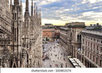 Milan / Italy - August 3, 2010: view of Milan and Galleria Vittorio Emanuele II from the roof of Duomo