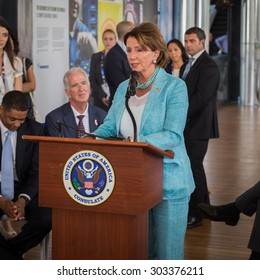 MILAN, ITALY - AUGUST 3: Nancy Pelosi makes a speech inside USA pavilion at Expo, universal exposition on the theme of food on AUGUST 3, 2015 in Milan.