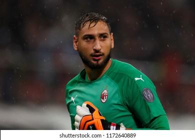 Milan, Italy. August 31, 2018. Campionato Italiano di Serie A. Milan - Roma 2-1. Gianluigi Donnarumma, goalkeeper Milan.