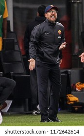 Milan, Italy. August 31, 2018. Campionato Italiano di Serie A. Milan - Roma 2-1. Eusebio Di Francesco, coach Roma.