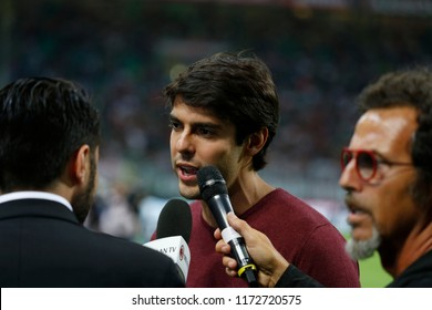 Milan, Italy. August 31, 2018. Campionato Italiano di Serie A. Milan - Roma 2-1. Kaka greetings supporters before the match.