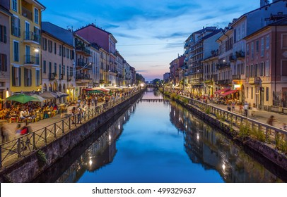 Milan, Italy,  August 8 2016, The Naviglio Grande canal at the evening in Milan, Italy
