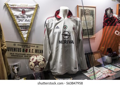 MILAN, ITALY - August 8, 2016: Inside the museum of the Stadio Giuseppe Meazza, commonly known as San Siro. A football stadium in Milan, Italy, which is the home of A.C. Milan and Inter Milan.