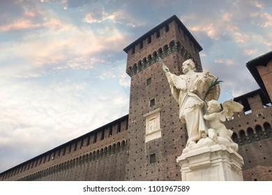 Milan, Italy. Castello Sforzesco (Sforza Castle) - old landmark of Lombardy