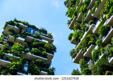MILAN, ITALY - CIRCA 2018: Details of Bosco Verticale skyscraper - Vertical Forest Skyscraper designed by Stefano Boeri architect