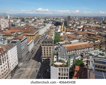 MILAN, ITALY - CIRCA APRIL 2016: Aerial view of the skyline of the city