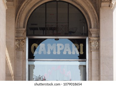 MILAN, ITALY - CIRCA APRIL 2018: Campari bar (aka Camparino) in the Galleria Vittorio Emanuele II